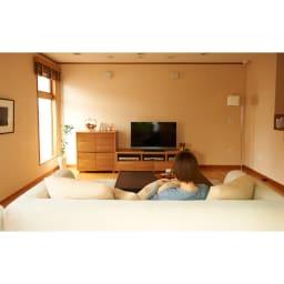 アルダー天然木アールデザインテレビ台・幅164cm コーディネートイメージ