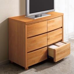 アルダー天然木アールデザインテレビ台シリーズ チェスト 幅85高さ71cm 置くだけでお部屋の風格がアップ。(ア)ライトブラウン