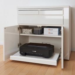 伸長式デスク&キャビネット 幅77.5~137cm 別売りのスライドテーブルを設置すればプリンター収納にも便利