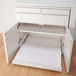 伸長式デスク&キャビネット専用プリンタースライドテーブル スライドテーブル 引き出した状態