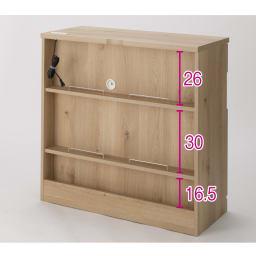 背面にルーターをひとまとめ!リビング収納キャビネット 幅90cm (イ)ブラウン 背面にはルーターや配線がすっきり整理できる棚板付き。