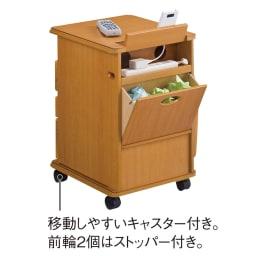多機能ソファサイドリビングワゴンテーブル (背面)隠しごみ箱やコンセントタップ収納スペースがあります。