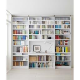 本好きの為のデスクシリーズ 上置き・シェルフ用 幅75cm 使用イメージ(ア)ホワイト ※写真は左からシェルフ幅75、デスク幅120、シェルフ幅75に各サイズ上置きを組み合わせております。こちらは上置きのみのお届けとなります。