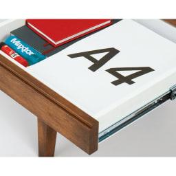北欧カントリー風 ウッドPCデスクシリーズ デスク・幅120cm 高級家具にも採用される、頑丈な箱組構造の引き出し。