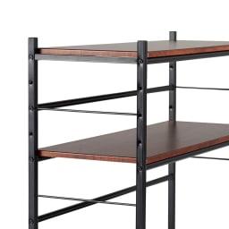 木目調収納ラック幅95cm奥行36cm 棚板は、全ての段が7cm間隔で調整できる仕様です。