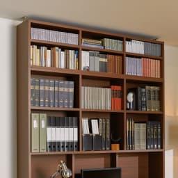 天板ひろびろ本格派デスク用上置き 幅120cm本体高さ40cm 色見本(ア)ダークブラウン。上2段分のボックスが、このページの商品です ※写真は幅150cmタイプです。
