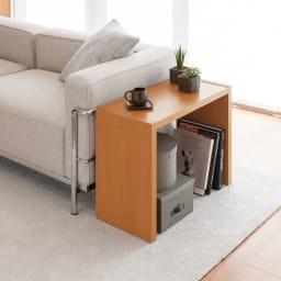 幅1cm刻みのサイズオーダーテーブル 幅60~180cm奥行30cm高さ50cm ミディアムブラウン(写真は幅60cm奥行29.5cm高さ49.2cmです)