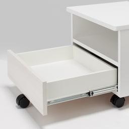 光沢木目リビングオフィスシリーズ プリンターワゴン 引き出しは、奥まで引き出せるフルスライドレール式。