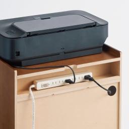ワークサポートワゴン プリンターワゴン 幅50cm奥行38cm高さ34.5cm 欠き込みやコード穴から背面のタップ置き場へ通せば、コード類もスッキリ。(※写真はB4ワゴン)