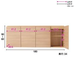 奥行34cmオーダー対応突っ張り式上置き(1cm単位) テレビ台用 幅180高さ26~90奥行34cm 可動棚板は3cm間隔で調節できるので、収納物に合わせて細かく移動できます。