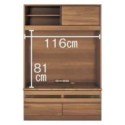 狭い場所でも収納たっぷり引き戸壁面収納シリーズ テレビ台 幅120.5cm デッキ収納部は2か所(有効内寸)幅56.2cm 奥行42.5cm 高さ15.6cm