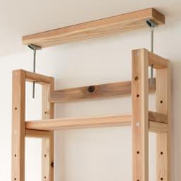 国産杉頑丈突っ張りラック(本棚) 幅59cm奥行22cm 天井と面で突っ張ってしっかり安定。