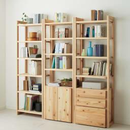国産杉頑丈ディスプレイ本棚(ヴィンテージ風ラック) 幅80cm 引き出しタイプ 飾り棚・コレクションラックとしての使用もおすすめです。(ア)ナチュラル