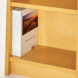 棚板頑丈 薄型タワーシェルフ(書棚・本棚) 幅70cm奥行18.5~29.5cm高さ180cm 雑誌や図鑑などの大きな本は下部の棚へ収納。