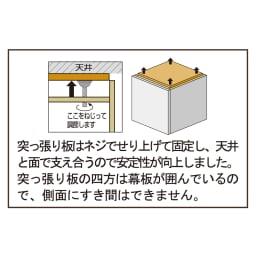 高さサイズオーダー上置き幅60奥行31 工夫満載!壁面書棚(本棚)リフォームユニット 上置き奥行31cm 幅60cm高さ26~90cm 【無駄な空間ができない設計】 突っ張り板はネジでせり上げて固定し、天井と面で支え合うので安定性が向上しました。突っ張り板の四方は幕板が囲んでいるので、側面にすき間はできません。