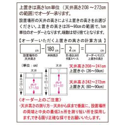 高さサイズオーダー上置き幅60奥行44 工夫満載!壁面書棚(本棚)リフォームユニット 上置き奥行44cm 幅60cm高さ26~90cm 【上置き高さの計算方法】