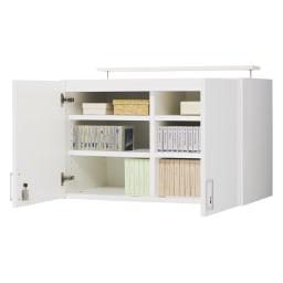 鍵付き本棚 高さオーダー対応上置き 幅80cm奥行45cm高さ30~80cm(高さ1cm単位オーダー) 商品イメージ:(ア)ホワイト 写真は商品高さ58cmです。 棚板は3cm間隔で調整できます。