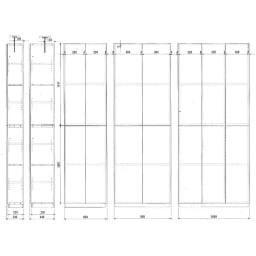 【幅100cm】 突っ張り壁面収納本棚 (奥行24cm本体高さ230cm) 【詳細図】
