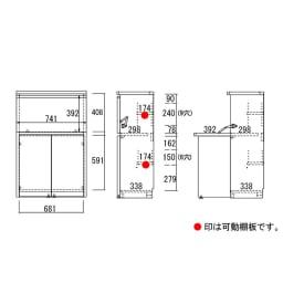 コンパクトライティングデスク 幅74.5奥行39/78cm高さ114cm(重厚感のあるがっちり本棚シリーズ) 詳細図(単位:mm)