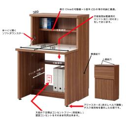 コンパクトライティングデスク 幅74.5奥行39/78cm高さ114cm(重厚感のあるがっちり本棚シリーズ) 棚や配線など、小柄ながら便利な機能満載です