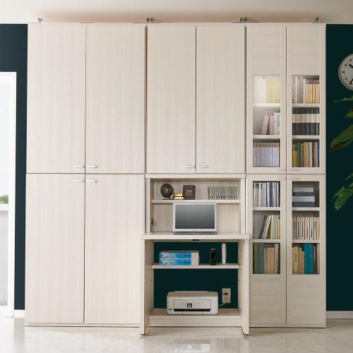 デスク幅74.5cm+ 板扉 本棚 幅74.5cm(重厚感のあるがっちり本棚シリーズ 上下セット+天井突っ張り金具) 画像
