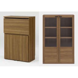 重厚感のあるがっちりデスクと扉が選べる本棚上下セット+天井突っ張り金具 デスク+本棚ガラス扉(ア)ブラウン