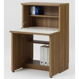 重厚感のあるがっちりデスクと扉が選べる本棚上下セット+天井突っ張り金具 デスク(ア)ブラウン
