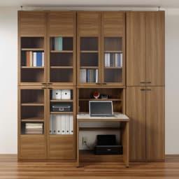 重厚感のあるがっちり本棚 板扉上下セット高さ228cm+天井突っ張り金具 右側が板扉幅60cm本棚セット。シリーズ商品とのコーディネート例です(ア)ブラウン