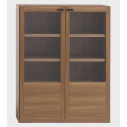 重厚感のあるがっちり本棚 ガラス扉上下セット高さ228cm+天井突っ張り金具 ガラス扉 幅90cm(ア)ブラウン
