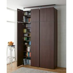 日用品もしまえる頑丈段違い書棚(本棚) 幅80cm 高さ180cm コーディネート例(ウ)ダークブラウン