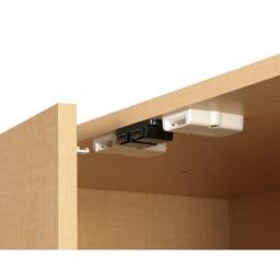 日用品もしまえる頑丈段違い書棚上置き(幅80cm) 地震を感知して扉をロック。