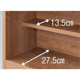 天然木調 伸縮式ブックシェルフ 2段・幅60~93cm 段違いにも置けるハーフ棚は3cmピッチ調節可能。
