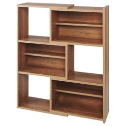 天然木調 伸縮式ブックシェルフ 3段・幅60~93cm (ア)ブラウン(最大幅)