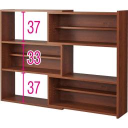 天然木調 伸縮式ブックシェルフ 3段・幅90~155cm (イ)ダークブラウン(最大幅) ※赤字は内寸(単位:cm)