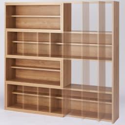 天然木調 伸縮式ブックシェルフ 4段 幅60~93cm 高さ153cm (ア)ブラウン 設置場所に応じてフレキシブルに幅伸縮。