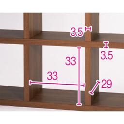 縦横自在スクエアシェルフ 4×3 幅115cm 高さ152cm 頑丈で重厚感のある厚み3.5cmの棚板。