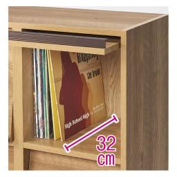ヴィンテージウッド調 マガジン&レコードキャビネット 上段専用 扉タイプ 2段2列[幅75.5cm奥行39cm高さ79cm] LPレコードや大型書籍も入る奥行の内寸32cm。