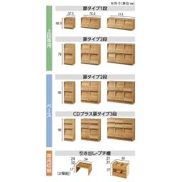 ヴィンテージウッド調 マガジン&レコードキャビネット 上段専用 扉タイプ 2段2列[幅75.5cm奥行39cm高さ79cm] 商品ラインナップ。奥行タイプは2種類。違う奥行きの商品を重ねることはできません。