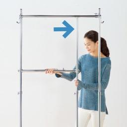 幅と高さが変えられるプロ仕様頑丈ハンガー 上下2段掛け付き ダブルタイプ・幅70~92cm 2段ハンガーの幅をワイドに。
