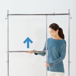 幅と高さが変えられるプロ仕様頑丈ハンガー 上下2段掛け付き ダブルタイプ・幅122~152cm 中央のバーの位置も調節可能。
