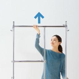幅と高さが変えられるプロ仕様頑丈ハンガー 上下2段掛け付き ダブルタイプ・幅122~152cm 衣類の丈に合わせ高さをアップ。