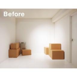 ウォークイン突っ張りハンガー 幅111~200cm・ロータイプ(高さ185~245cm)・カーテンなし (Step 1) 物置になっている空き部屋…