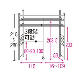 上下・左右カーテン付き ホワイトハンガーラック 引き出しなし・ハイタイプ(幅137~230cm) 内部の構造図(単位:cm) 引き出し無し