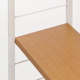 突っ張り式カスタムオープン ワードローブ ハンガー2段&棚2枚 幅91cm (ウ)ナチュラル スチールパイプと棚板の色をコーディネートしたデザイン。