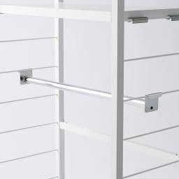 突っ張り式カスタムオープン ワードローブ ハンガー2段&棚2枚 幅91cm 棚板もハンガーバーもサイドバーに引っ掛けるだけ!収納したいものサイズに合わせて都度簡単に変更できるのがうれしい!