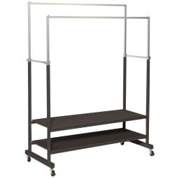 スタイリッシュデザインで頑丈!高さ伸縮もできる前後ダブルハンガー (イ)ブラック ※写真は幅121cmタイプです。