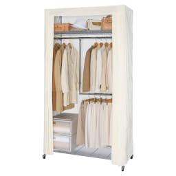 洗えるカバー付き 頑丈ハンガーラック 2段掛けハイタイプ・幅121cm 上下2段掛けタイプはロング丈のコートと丈の短いジャケット、パンツをバランスよく収納できます。2段掛けハンガー部は高さと幅が調節できます。