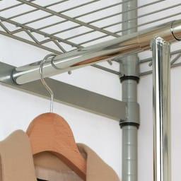 洗えるカバー付き 頑丈ハンガーラック 2段掛けハイタイプ・幅121cm ※上段ハンガーバーの取り付けは2.5cmピッチで調整できます。