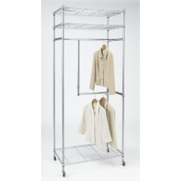 洗えるカバー付き 頑丈ハンガーラック 2段掛けハイタイプ・幅152cm 2段掛け部分の幅と高さの調節が可能。ロングコートも掛けられます。 スチールシェルフだから、衣類をたっぷり掛けてもぐらつきにくく安定して使えます。