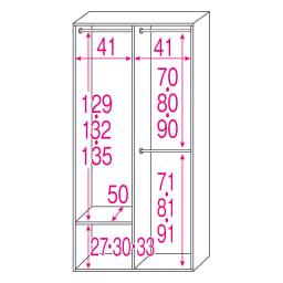 ルーバー 折れ戸クローゼット クローゼット 幅90cm ※赤文字は内寸(単位:cm)